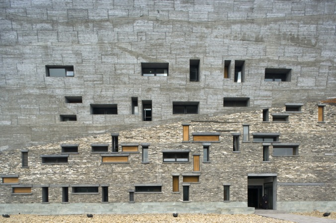 Detail of reused rubble in the facade of the Ningbo History Museum by architect Wang Shu