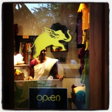 The flying elephant Viakerala's logo on the Cardamom County shop window
