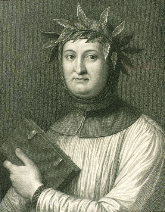 PRIVATE COLLECTION/KEN WELSH/THE BRIDGEMAN ART LIBRARY. Fourteenth-century Florentine poet Petrarch so loved the classical authors that he imagined conversations with them.