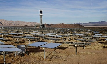 BrightSource Energy's Ivanpah Solar Electric Generating System in the Mojave Desert. Photograph: Isaac Brekken/Washington Post