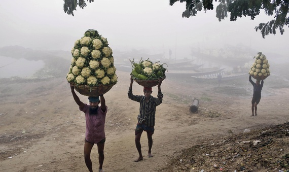 Unloading vegetables from a boat on a foggy January morning in Bangladesh (A.M. Ahad/AP)