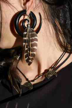 Lionfish Spine & Turkey Feather earrings-photo2