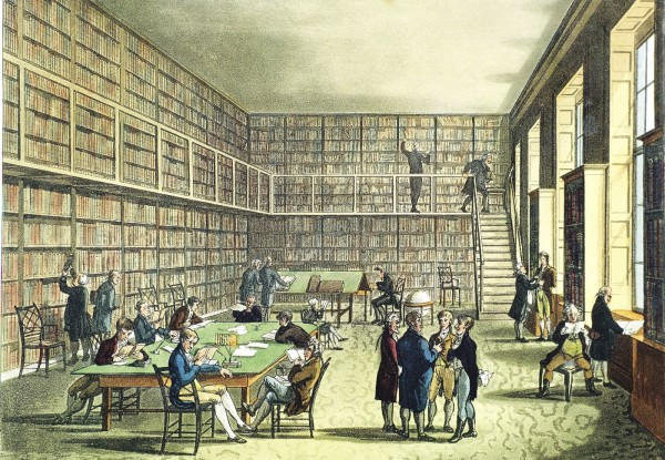 Image by Corbis Images.  Thomas Rowlandson's view of the library of the Royal Institution in London, circa 1810