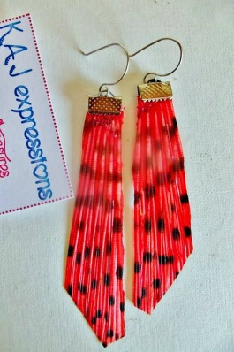 Red-lionfish-tail earrings-kaj photo4