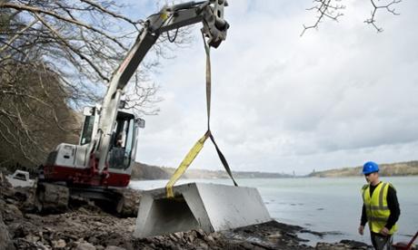 Work underway on the installation of the marine pump at Plas Newydd. Photograph: National Trust