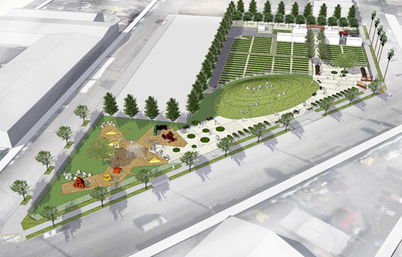 Above: A rendering of City Slicker Farms' plans for a farm and park in West Oakland. Image courtesy City Slicker Farms.