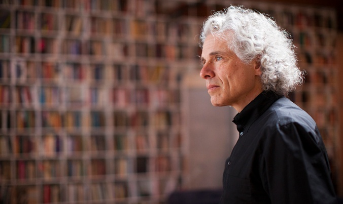 Steven Pinker is a Johnstone Family Professor in the Department of Psychology at Harvard University. He is pictured in his home in Boston. Stephanie Mitchell/Harvard Staff Photographer
