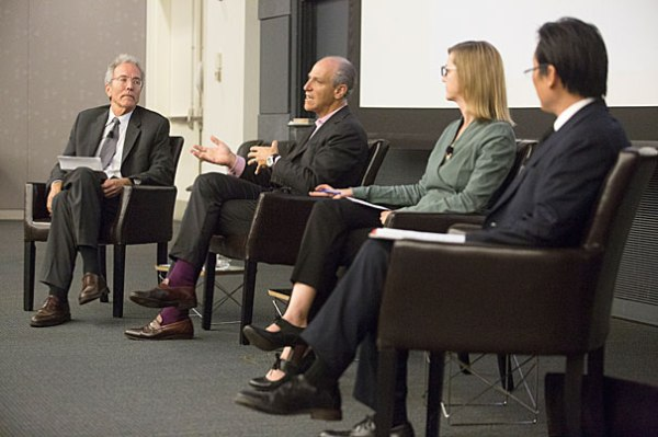 Jon Chase/Harvard Staff Photographer. Harvard Art Museums Director Tom Lentz (from left) moderated a discussion with MoMA Director Glenn Lowry, A.M. '78, Ph.D. '82, Elizabeth Cary Agassiz Professor of the Humanities Jennifer Roberts, and Paul Ha, director, List Visual Arts Center at MIT.