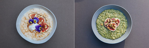 Definitely not traditional: two colorful takes on porridge, from Friday's London Porridge Championships. Dai Williams/Courtesy of the National Porridge Championship