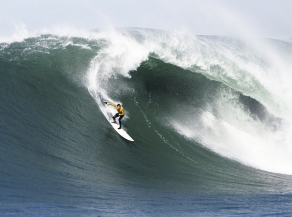 Greg Long at the the 2004-2005 Mavericks Big Wave Surf Contest; Half Moon Bay, March 2, 2005. CREDIT PHOTOGRAPH BY BY ROBERT B. STANTON/WIREIMAGE VIA GETTY