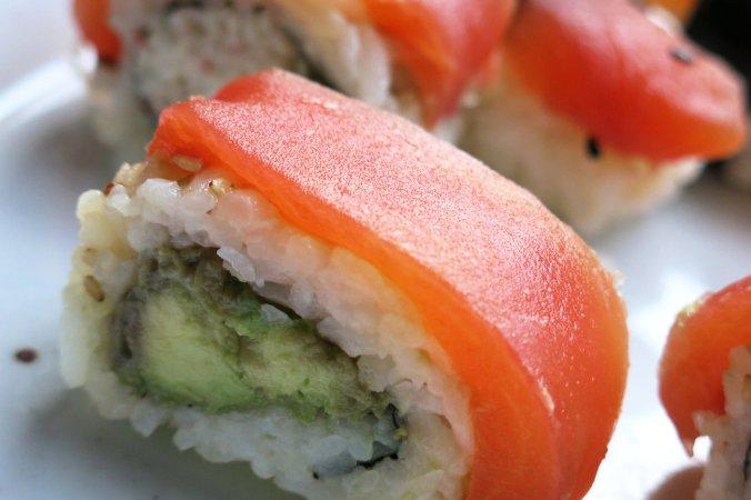 Chef James Corwell's nigiri sushi rolls made with Tomato Sushi, a plant-based tuna alternative, in San Francisco. Alastair Bland for NPR