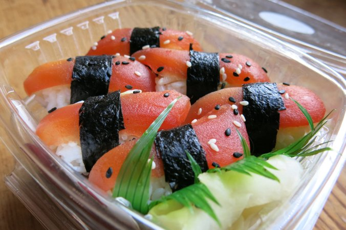 """""""What I want is to create a great sushi experience without the tuna,"""" Chef James Corwell says. Alastair Bland for NPR"""