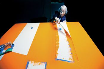 Carmen Herrera, painter, 99, in her Manhattan studio. Herrera sold her first painting at age 89. Today her work is in the permanent collections at the Museum of Modern Art and the Tate Modern.
