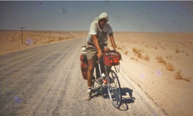 Trevor Ward on a cycle tour in the Sahara. Photograph: Trevor Ward