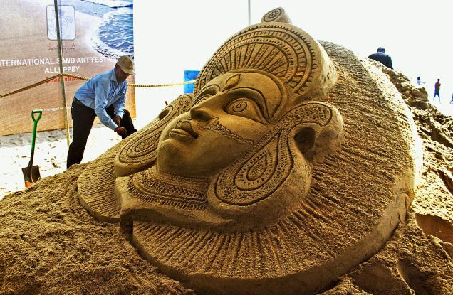An artist prepares a sand installation at the Alappuzha beach during the trial run of the international sand art festival that will be held in April.– Photo: By Special Arrangement
