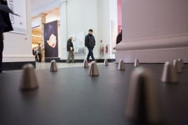 Peter Kelleher/Victoria and Albert Museum, London, 2015. Spike studs, used to keep people from sleeping near buildings, are part of the exhibition.