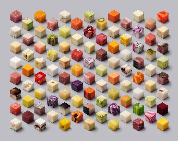 98 2.5 cm cubes of raw food make this stunning isosymmetric photograph. COURTESY: Lernert & Sander