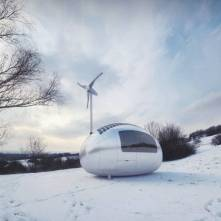 A wind turbine and solar cells power the Ecocapsule