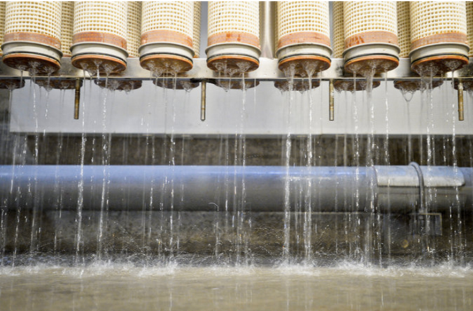 Filtering membranes in an Orange County, Calif., water purification facility. The plant opened in 2008 during the state's last drought. Credit Stuart Palley for The New York Times