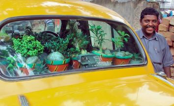 The cab has been nicknamed as the Green Chariot. PHOTOS: The Better India