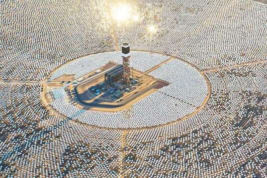 Ivanpah, the world's largest concentrating solar power plant, located just southwest of Las Vegas,  can produce a whopping 392 megawatts of solar energy to power 140,000 California homes with clean energy