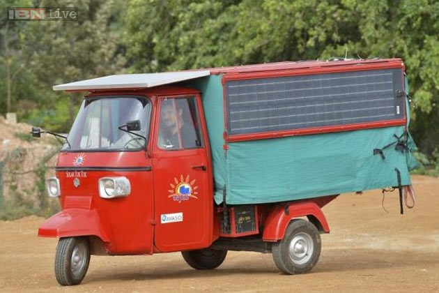 Tejas is a renovated Piaggio Ape  with a 13-kilo-watt prototype engine, lithium-ion batteries and six solar panels. PHOTO: IBN