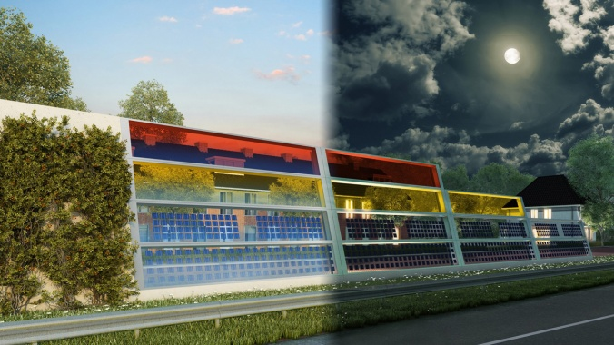 These beautiful, translucent barriers quiet traffic—and generate power at the same time