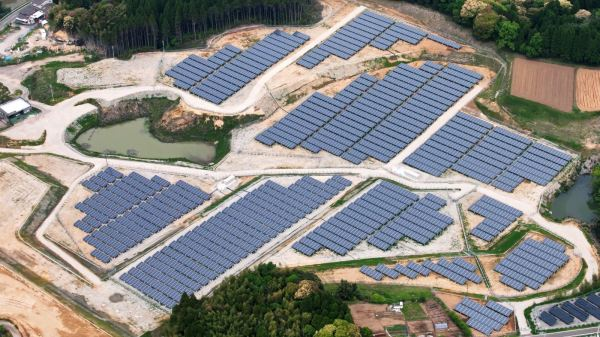 Part of a completed solar project on an old golf course in the Miyazaki prefecture. (Kyocera)