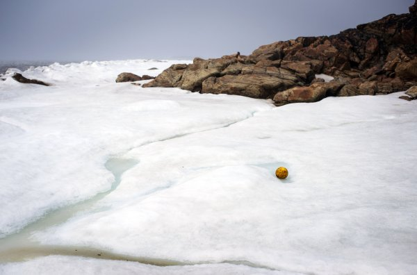 Even in late June, ice clotted Frobisher Bay in Iqaluit, where teams from across Nunavut met to compete in a soccer tournament.PHOTO: Ian Willms for The New York Times