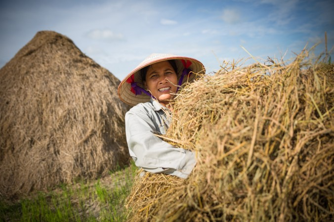 Social entrepreneur Trang Tran is teaching Vietnamese farmers how to use rice straw as a substrate to grow gourmet mushrooms, helping to reduce greenhouse gas emissions and give farmers a new source of income. PHOTO: Medium