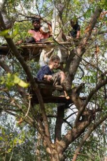 Students on a treehouse they built on their own initiative. PHOTO: Vikalp Sangam