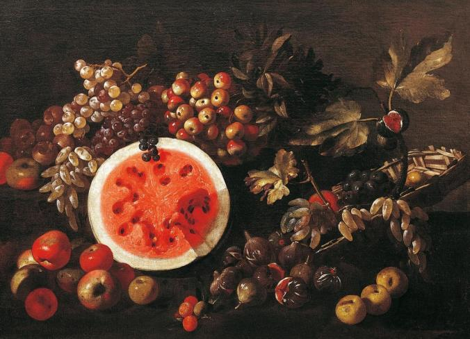 The watermelon has long inspired artists, such as Giuseppe Recco's Still Life With Fruit (1634-1695). The first color sketches of the red-fleshed, sweet watermelon in Europe can be found in a medieval medical manuscript, the Tacuinum Sanitatis.  PHOTO: Dea, A. Dagli Orti/Deagnostini/ GETTY
