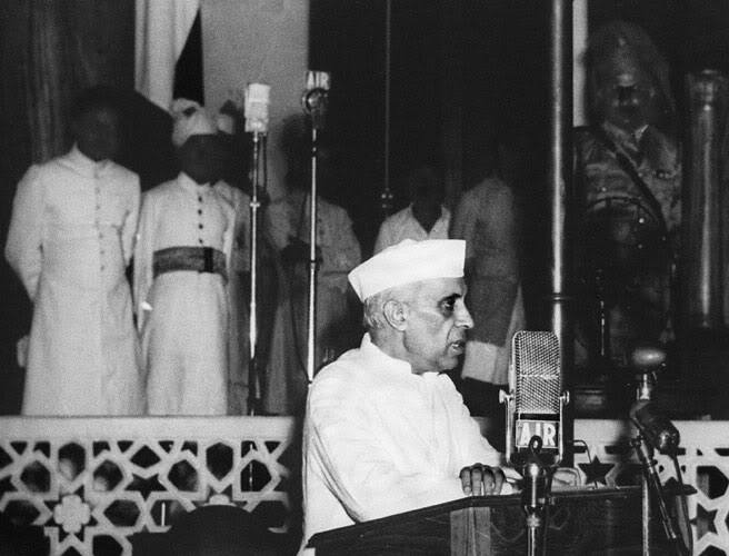 A photo dated 15 August 1947 shows Jawaharlal Nehru, India's first Prime Minister, delivering his Famous