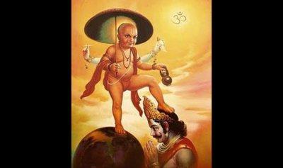 Vamana, an avatar of Lord Vishnu, places his feet on King Mahabali.