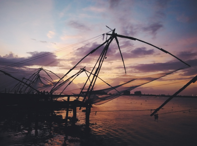 Golden hour at the line of fishing nets along Fort Kochi beach, Kerala, India. PHOTO: Rosanna