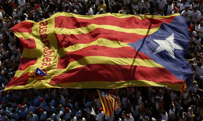 The estelada, the flag of Catalan independence, during a demonstration in Barcelona. Photograph: Manu Fernandez/AP