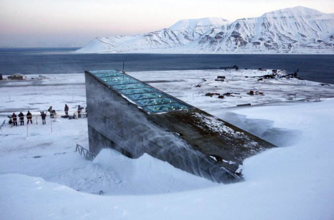 """The Svalbard Global Seed Vault was inaugurated in 2008. The """"doomsday vault"""" lies inside an Arctic mountain in the remote Norwegian archipelago of Svalbard. For the first time, scientists are taking some seeds out. PHOTO: John McConnico/AP"""