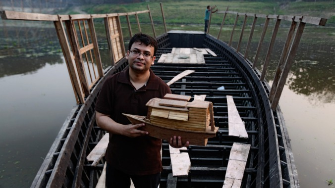 Architect Rezwan's idea is to combine a school bus with the schoolhouse, and use the traditional wooden boat to create a floating space to bring primary education to doorsteps. PHOTO: ABIR ABDULLAH/ SHIDHULAI SWANIRVAR SANGSTHA