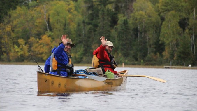 Amy and Dave Freeman paddle into the Boundary Waters, starting their 365 days in the wilderness to raise awareness of mining plans in the region.PHOTO: Alex Chocholousek