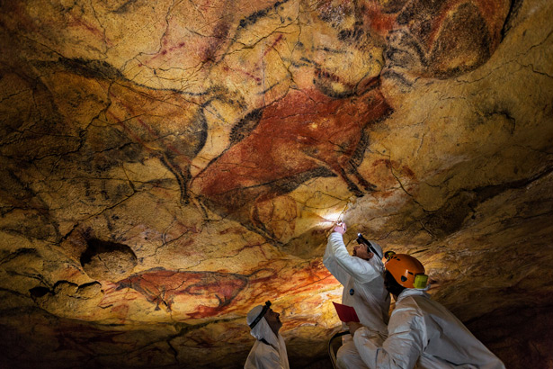 Located in southern France, the Cave of Pont d'Arc holds the earliest-known and best-preserved figurative drawings, dating back to the Aurignacian period (30,000–32,000 BP). PHOTO: Nat Geo