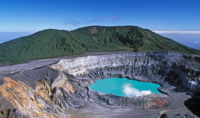 Poas Volcano crater on a clear day. Photo credit: Juan K Gamboa