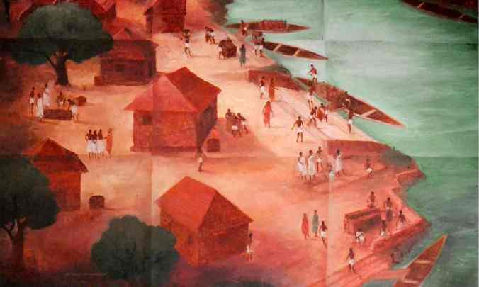 A painting of Muziris by the artist Ajit Kumar. In 2004, excavations in Kerala sparked new interest in this lost port. Illustration: KCHR