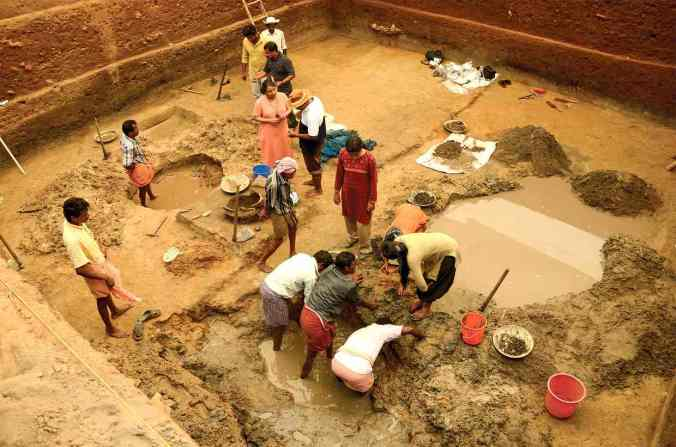 Excavations in the village of Pattanam, Kerala, have raised questions about whether the site is 'urban' enough to be Muziris. Photograph: KCHR