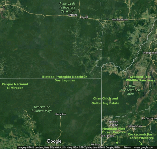 map of the area with major land conservation holdings in green