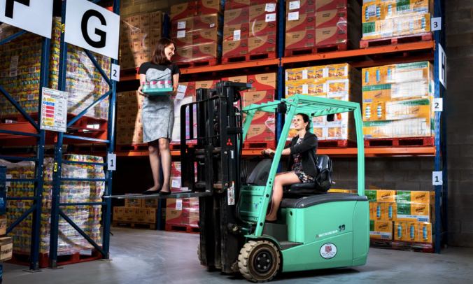 'A love for food and a distaste for waste': Iseult Ward (left) and Aoibheann O'Brien in the FoodCloud warehouse in Dublin. Photograph: Mark Nixon for the Observer