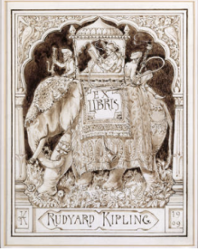 Rudyard Kipling's bookplate 'Ex Libris', Lockwood Kipling, 1909. © National Trust Images/John Hammond