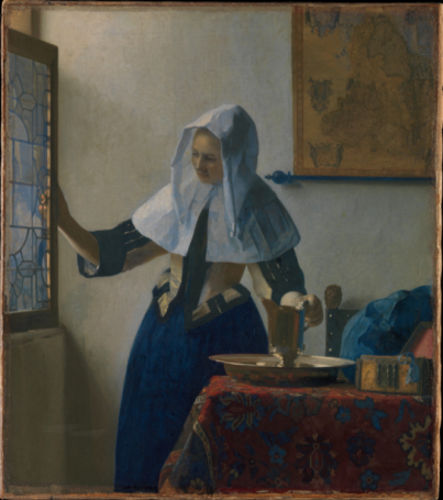 Young Woman with a Water Pitcher by Johannes Vermeer (Dutch, Delft 1632–1675 Delft)