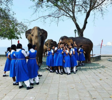School children enjoying the exhibit