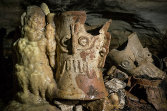 Pre-Columbian artifacts in a cave at the Maya ruins.CreditKarla Ortega/Mexico's National Institute of Anthropology, via Associated Press